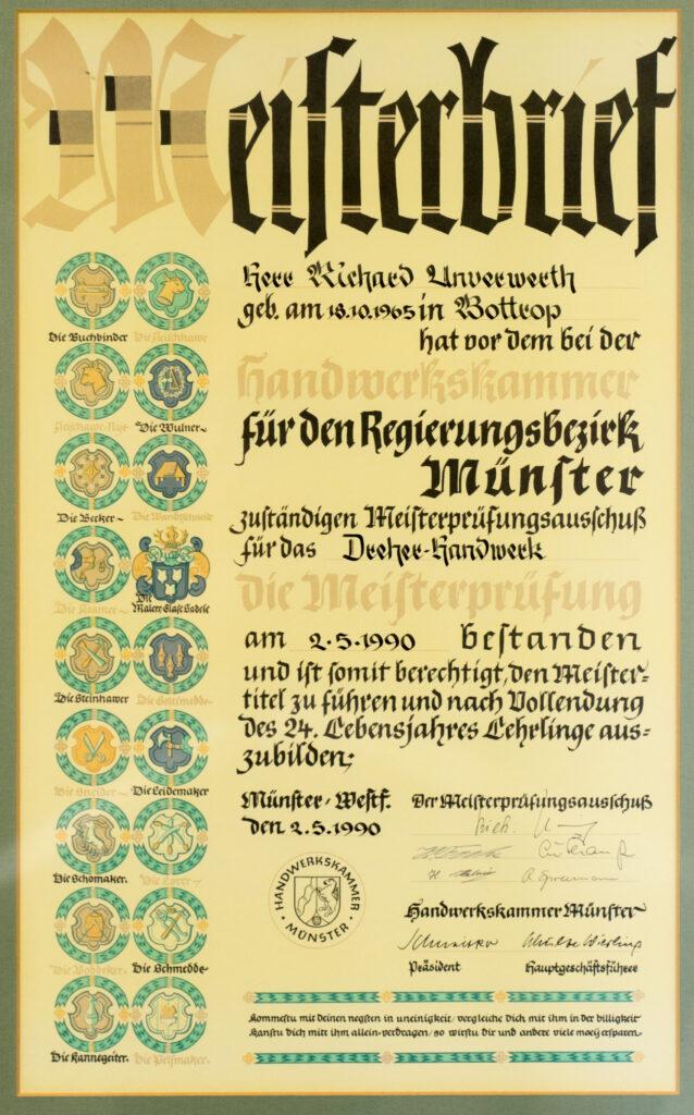 Meisterbrief Richard Unverwerth